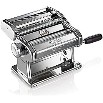Marcato Atlas Pasta Machine, Made in Italy, Stainless Steel, Includes Pasta Cutter, Hand Crank, and Instructions