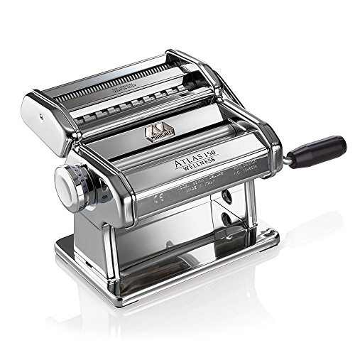 Marcato Atlas 150 Pasta Machine, Made In Italy, Includes Pasta Cutter, Hand Crank, & Instructions