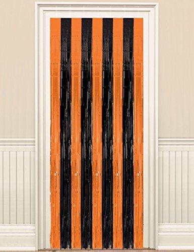 Orange & Black Fringe Door (Halloween Door Curtain)
