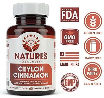 Organic Ceylon Cinnamon - 1200 mg   Balances Blood Sugar Levels   Powerful Antioxidant Promotes Heart Health   Maintains Joint Health and Mobility   Non-GMO   60 Veg Capsules