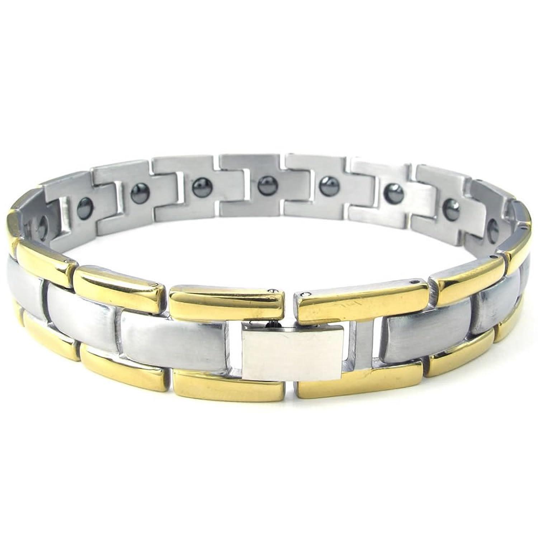 KONOV Joyería Pulsera de hombre Clásicos Link Magnética Acero inoxidable Color oro