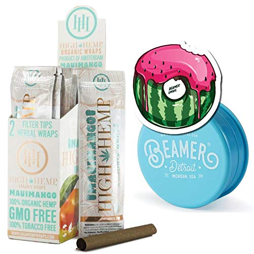 25 Packs (50 Total Wraps) Maui Mango Flavor Organic Hemp Wraps with Filter Tip + Beamer 3-Piece 63mm Acrylic Grinder with Storage Compartment + Beamer Smoke Sticker