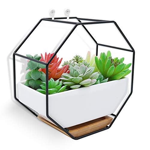- XiaZ Wall Hanging Planter Vase White Rectangular Ceramic, Iron Stand and Bamboo Saucer, Succulent Air Plants Cactus Pearls Holder Container, Flower Pots for Desk, Home Decoration