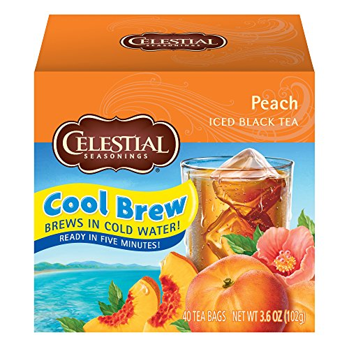 Celestial Seasonings Cool Brew Iced Tea, Peach, 40 Count Box (Pack of 6)