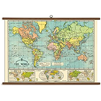 Amazon.com: Cavallini Papers World Map Vintage School Chart