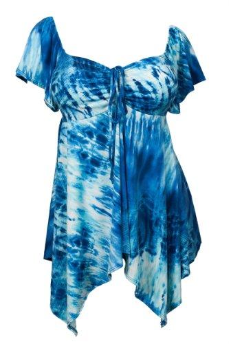V-neck Top Sublimation - eVogues Plus Size Deep V-Neck Asymmetric Slimming Top Blue Sublimation Print - 2X
