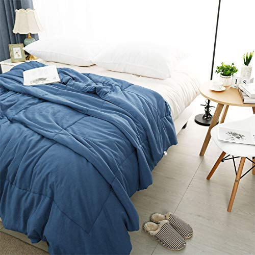PiccoCasa Twin Blue 100% Washed Cotton Quilted Comforter - Duvet Insert/Stand Along Comforter - Reversible Design - Machine Washable - 68 by 88 inches by PiccoCasa (Image #2)