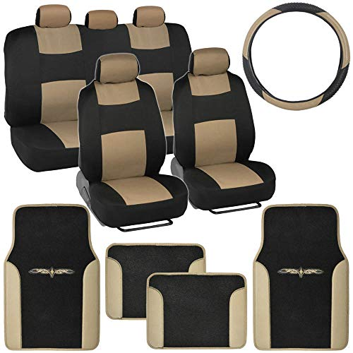 BDK Beige Combo Fresh Design Matching All Protective Seat Covers (2 Front 1 Bench) Ergonomic Steering Cover (1 Piece) Heavy Protection Sleek Graphic Auto Carpet Floor Mats (4 Set)