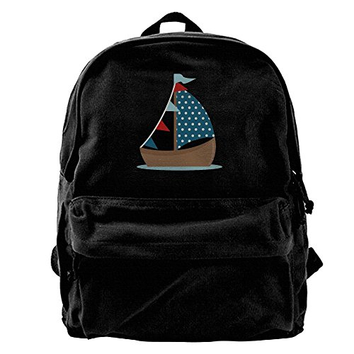 Cute Sailboat Clipart Unisex Classic Water Resistant School Rucksack Travel Backpack Laptop (Clipart Boat)