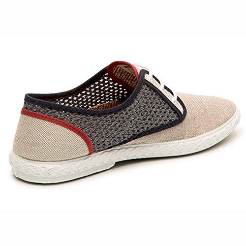 Beige Artesanal Moda Hecho Zapatos Fabricado Grey Red 100 España Maians Algodón Sneaker Casual para Hombre en R6Uqf