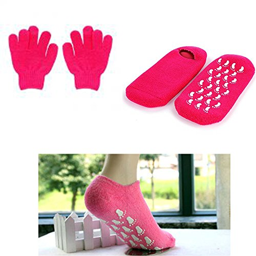 - Moisturizing Skin Softening Spa Socks and Gloves with Essential Oil Infused Gel for Dry Cracked Feet and Hands Repair by JERN ( 1 Pair Spa Socks + 1 Pair Spa Gloves) (Dark Pink)
