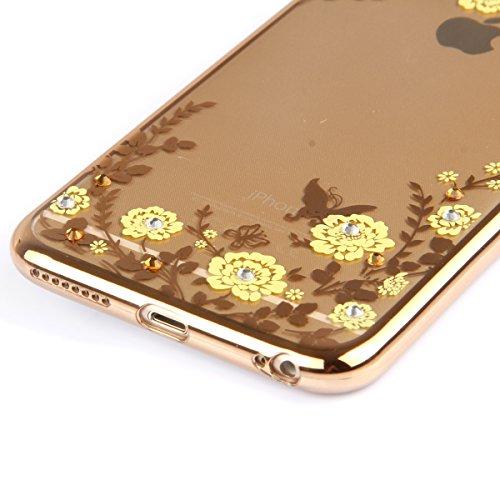 Funda para Galaxy Note 3, Galaxy Note 3 Silicona Funda Transparente Carcasa con Bling diamante, Galaxy Note 3 Funda Flexible Gel Protector Silicona Caso Parachoques Bumper, Galaxy Note 3 Slim Silicone Oro-flores amarillas
