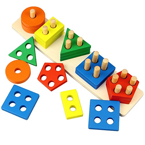 Dreampark Wooden Educational Toys, Wooden Shape Color Sorting Preschool Stacking Blocks Toddler Puzzles Toys Birthday Gifts for Boys and Girls Age 1 2 3 ()