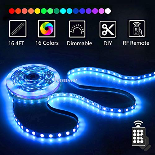 LED Strip Lights with Remote 5M 16.4 Ft 5050 RGB Flexible Color Changing Full Kit with RF Mini Controller, 12V 2A Power Supply for Home & Kitchen and Indoor Decoration ()