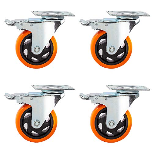 "4"" Swivel Caster Wheels with Safety Dual Locking and Polyurethane Foam No Noise Wheels,Heavy Duty-450 Lbs Per Caster"