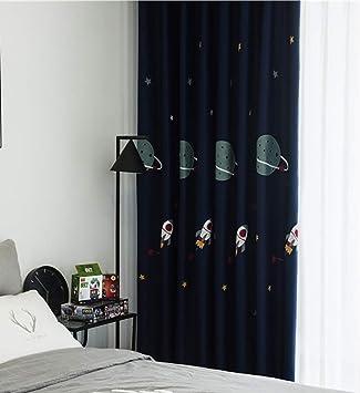 Naturer Vorh/änge Babyzimmer /Ösen Mustern 140x145 Blau Planet Kinder Blickdicht Gardinen f/ür Kinderzimmer Wohnzimmer W/ärmeschutz Ger/äuschreduzierung
