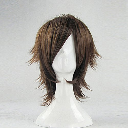 Phantom Wig (Detective Conan Kid the Phantom Thief Brown Short Cosplay Party Hair Wig + Free Wig Cap)