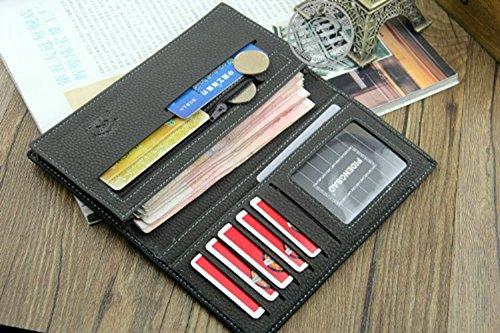 bolso hombre plegable mano cuero ® Jacentown monederos para tarjetas negocio bolso monedero azul de al para cartera wIcBqz