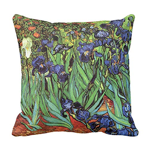 Yutoa-Design Irises Van Gogh Fine Art Pillow Cover Sofa Home Decorative Throw Pillow Case Gift Ideas Household Zippered Cushion Covers 18X18Inch