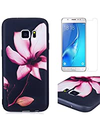 for Samsung Galaxy S7 Case and Screen Protector,OYIME Luxury [Pink Lotus] Relief Pattern Design Black Silicone Rubber Ultra Thin Slim Fit Bumper Drop Protection Anti-Scratch Protective Back Cover