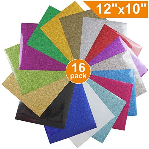 Glitter Heat Transfer Vinyl HTV for T-Shirts 12 Inches by 10 Feet Rolls (16 - Vinyl Transfer Heat Glitter