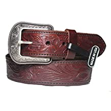 1 1/2 inch mahogany western Belt and Buckle