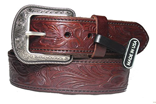 1 1/2 inch mahogany western Belt and Buckle Made in the USA