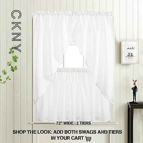 24 inch White Kitchen Tiers Semi Sheer Café Curtains Rod Pocket Casual Weave Textured Half Window Curtains for Bathroom 2 Panels by jinchan (Image #6)'