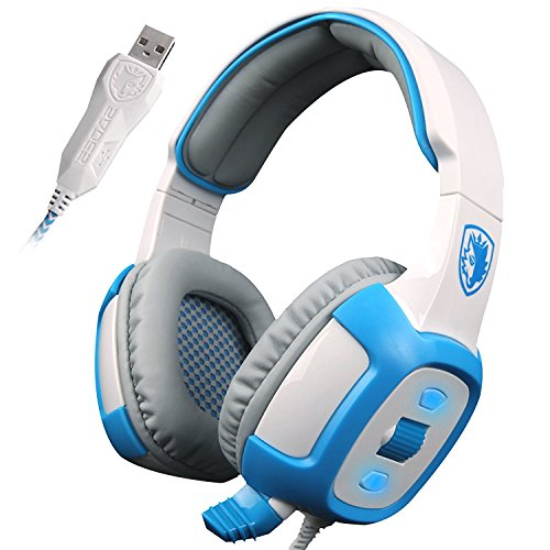 SADES SA906 7.1 Stereo Surround Sound Professional USB PC Gaming Headset Über-Ohr-Stirnband-Kopfhörer mit Mikrofon HiFi Vibrationsfunktion Lautstärkeregelung Fernbedienung rote LED-Beleuchtung (weiß)