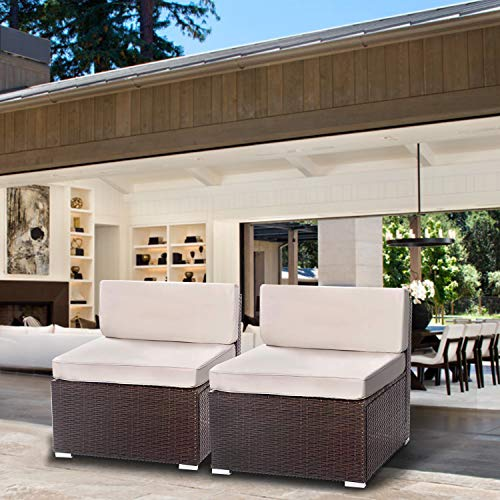 Aclumsy 2 Pieces Patio sectional Sofa Set 2 Pieces, Brown