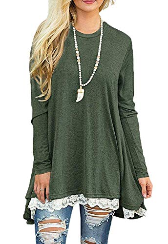 Womens Plus Size Tops Long Sleeve Lace Tunic Shirts Blouses A-line Scoop Neck Tops