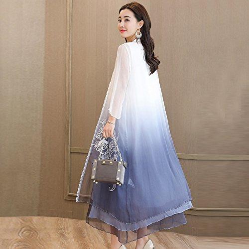 Vestido Bordado Hilo Cubiertos Suelto Primavera Larga Traje Eugen Dos Vestido blue ZHUDJ Sección Con La Bordados En RwBx5E