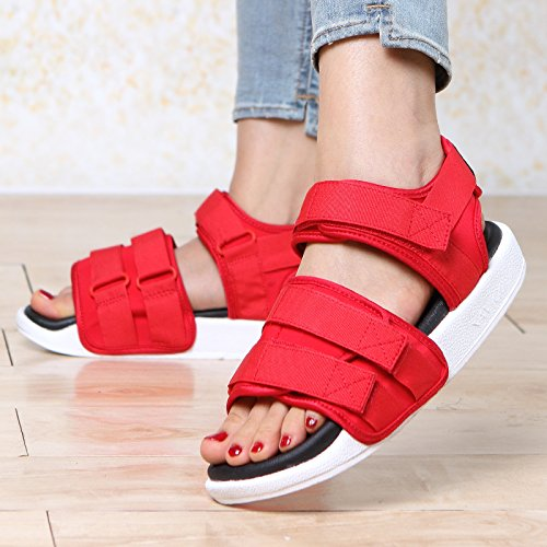 xing lin Ladies Sandals Sandals Thick Velcro Summer New Tide Casual Sandals Sandals Female Flat red cxpeqBA