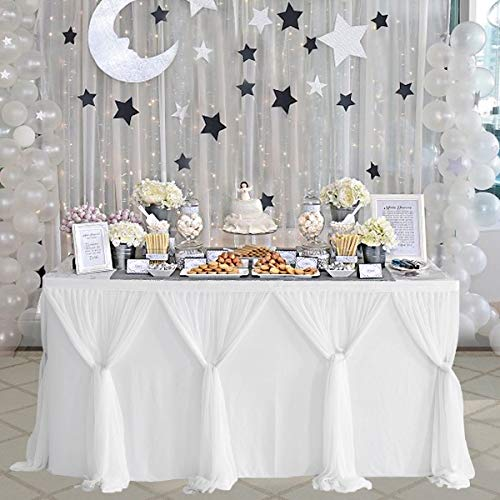Table Skirts For Wedding (Table Skirt White Tulle Tablecloth for Rectangle Tables 9ft Tutu Table Skirt Decoration for Wedding Bridal Baby Shower Birthday Party Table Decorations(L9(ft) H)