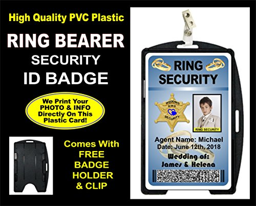 Ring Bearer Security ID Card - Personalized with Ring Bearers Photo & Name as well as Wedding Info.