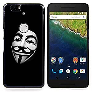 Queen Pattern - FOR Huawei Nexus 6P - Mask White Man Hacker Code Freedom - Cubierta del caso de impacto con el patr???¡¯???€????€?????n Ar