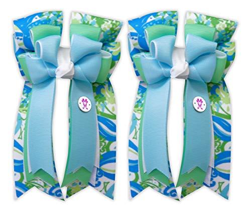 PonyTail Bows Equestrian Show Bow Set - Premium Handmade Seahorse - 3 Inch -