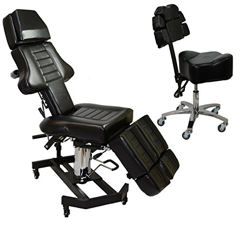 InkBed New Pantented Package Client Tattoo Massage Bed & Artist Ergonomic InkStool Back Support Chair Studio Equipment ()