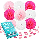 Beleheim Baby Shower Decorations Girl Pink Fuchsia White Set 9 pcs Large 12'' Tissue Paper Pom Poms and 3 pcs 6 ft Garlands Nursery Wedding Birthday Party Sweet Sixteen Mother's day