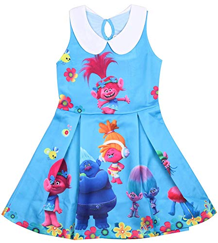 AOVCLKID Trolls Costume for Toddler Kids Party Princess Dress Little Girls Dress Up (150/7-8Y, Blue) -