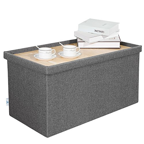 B FSOBEIIALEO Storage Ottoman with Tray, Linen Coffee Table Folding Long Shoes Bench Footstool, Dark Grey 30