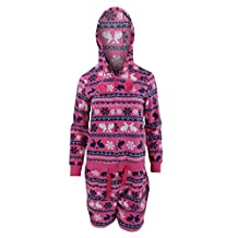 Womens/Ladies Rabbit/Star Pattern Hooded Fleece Shortie Onesie