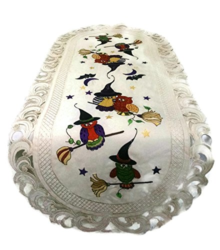 (Doily Boutique Halloween Table Runner with Owls and Witch Hats Embroidered on Ivory Fabric, Size 15 x 34 inches)