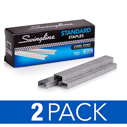 Swingline Staples, Standard, 1/4 Length, 210/Strip, 5000/Box, 2 Pack (35107)