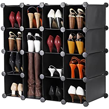VonHaus 16x Black Interlocking Shoe Cubby Organizer Storage Cube Shoes Rack    Build Into Any Shape