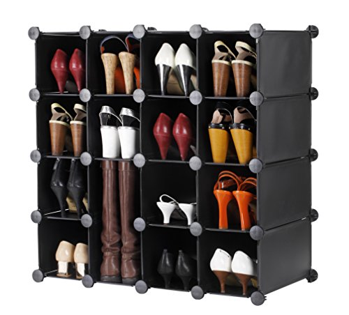VonHaus 16x Black Interlocking Shoe Cubby Organizer Storage Cube Shoes Rack - Build Into Any Shape or Size To Organize Shoes, Clothing, Toys and DVDs (Shoe Rack Cubby)