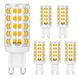 BALDER Dimmable G9 LED Bulb 6W, 60W Halogen Bulb Replacement, Warm White 3000K, Bi Pin,6-Pack