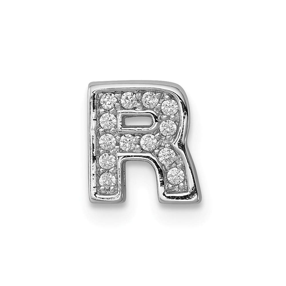 Jewelry Stores Network Sterling Silver CZ Letter R Slide Charm