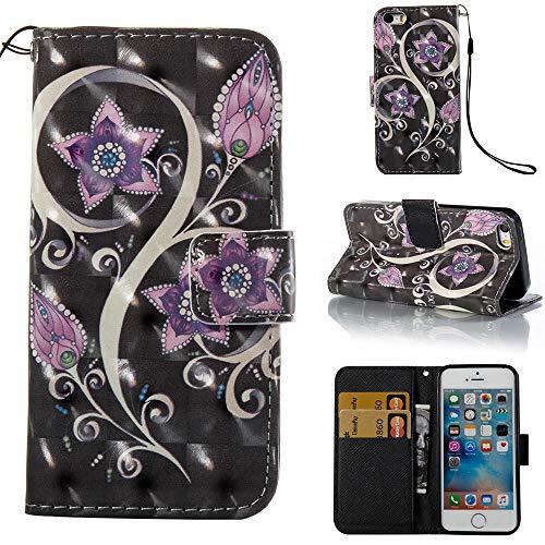 iPhone SE Wallet Case, iPhone SE/iPhone 5S / iPhone 5 Case, Voanice PU Leather Wallet Case Card Holder Slots Flip Folio Kickstand Cover Women Men iPhone 5 /5S/SE &Stylus -Black Purple Flower]()