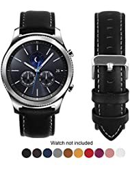 Compatible Samsung Gear S3 Frontier/Classic Watch Bands, Fullmosa Quick Release Leather Watch Band for Gear S3 Bands/Moto 360 2nd Gen 46mm 22mm Watch Band (Silver & Gold Buckle)